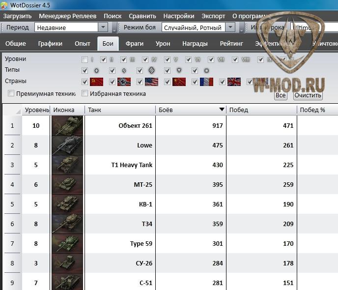 Просмотр всех танков игрока